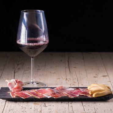 Spanish tapas, Iberian Acorn Ham and wine